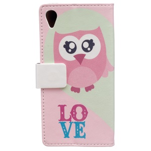 Wallet Stand Patterned PU Leather Shell Case for Sony Xperia L1 - LOVE Owl