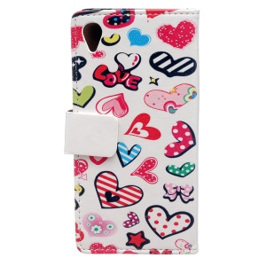 Patterned Wallet Leather Mobile Casing Case for Sony Xperia L1 - Colorful Hearts