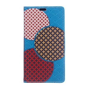 Patterned Wallet Stand Leather Mobile Shell for Sony Xperia L1 - Circles Seamless