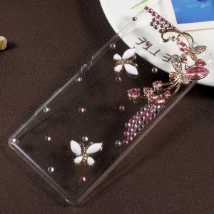 3D Rhinestone PC Protective Cell Phone Cover for Sony Xperia XA / XA Dual - Pink