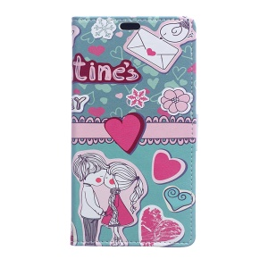 Pattern Printing Card Slots Stand Leather Case for Sony Xperia XA1 - Love Elements