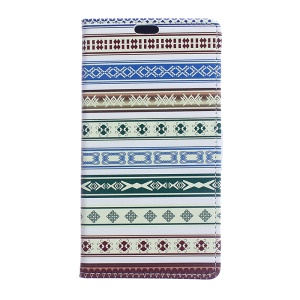 Patterned Leather Cover with Card Slots for Sony Xperia XA1 - Ethnic Style Pattern