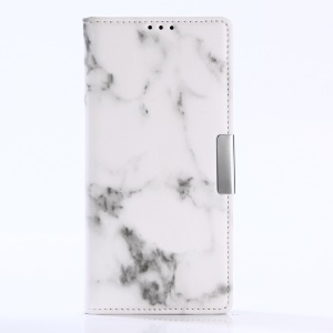 Marble Pattern Leather Wallet Case Cover Stand for Sony Xperia XA1 - White
