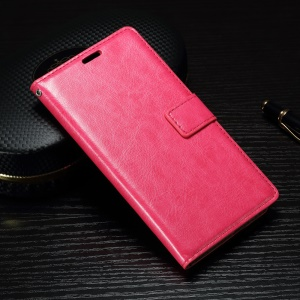 Crazy Horse Phone Leather Wallet Case for Sony Xperia XA1 - Rose
