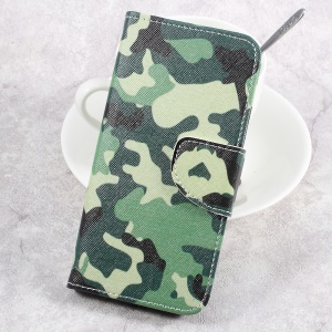 Pattern Printing Leather Cover with Wallet Slots for Sony Xperia XA1 - Camouflage Pattern