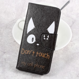 Patterned Wallet Leather Cell Phone Case for Sony Xperia XA1 - Do Not Touch My Phone