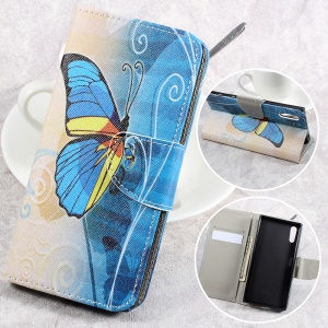 Pattern Printing Leather Wallet Folio Flip Case for Sony Xperia XZs / XZ - Beautiful Butterfly
