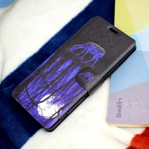 Pattern Printing Stand Card Slot Leather Phone Shell for Sony Xperia E5 - Deer and Pool Reflection