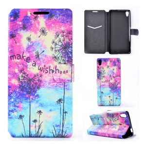 Pattern Printing Leather Card Holder Case for Sony Xperia XA Ultra - Dandelion and Quote