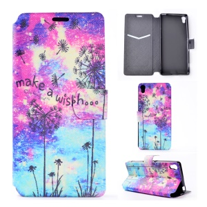 Pattern Printing Leather Folio Case for Sony Xperia XA / XA Dual - Dandelion and Quote