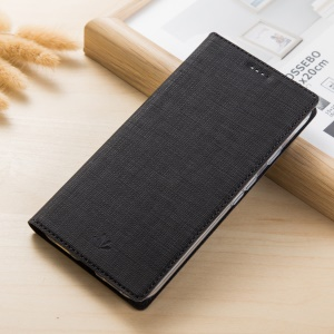 VILI DMX Style Auto-absorbed Cross Texture Leather Card Slot Stand Case for Sony Xperia XA1 - Black