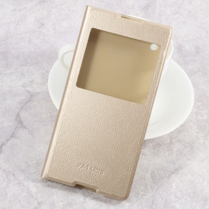 Clear PC View Window Leather Case for Sony Xperia XA1 Ultra - Gold
