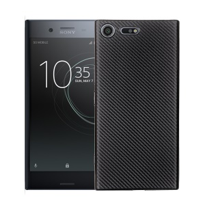 Carbon Fiber Soft TPU Cell Phone Cover for Sony Xperia XZ Premium - Black