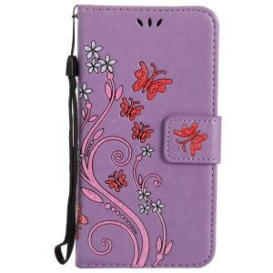 Imprint Butterfly Flower Magnetic Leather Stand Cellphone Cover for Sony Xperia XA / XA Dual - Purple