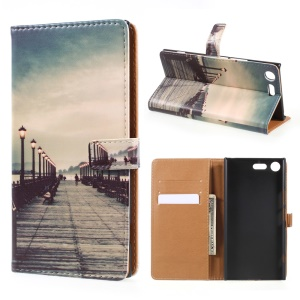 Pattern Printing Leather Wallet Case for Sony Xperia XZ Premium - Dock at Sunset