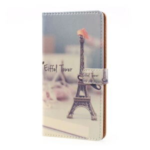 Pattern Printing Leather Wallet Cover for Sony Xperia XZ Premium - Eiffel Tower and Mustache