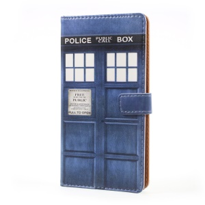 Pattern Printing Leather Card Holder Case for Sony Xperia XZ Premium - Police Public Call Box