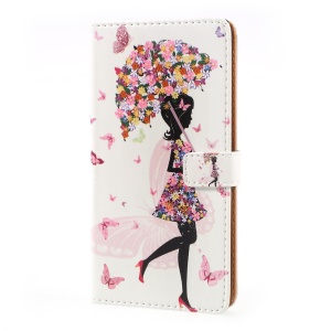 Pattern Printing PU Leather Wallet Case for Sony Xperia XZ Premium - Flowered Girl Holding Umbrella