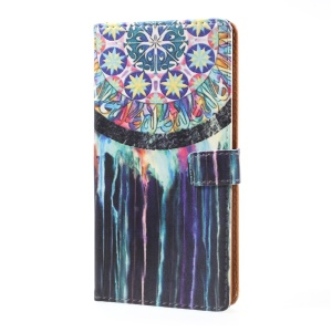 Pattern Printing Leather Stand Case with Card Slots for Sony Xperia XZ Premium - Dream Catcher