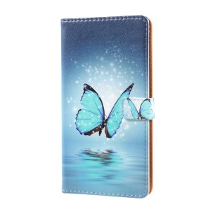 Pattern Printing Leather Stand Cover with Card Slots for Sony Xperia XZ Premium - Blue Butterfly