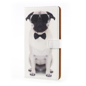 Pattern Printing Folio Leather Wallet Case for Sony Xperia XZ Premium - Dog Wearing Sunglasses