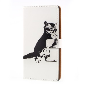 Pattern Printing Wallet Leather Cell Phone Case for Sony Xperia XZ Premium - Black and White Cat