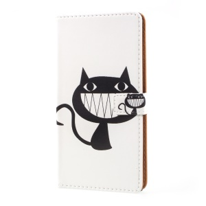 Pattern Printing Stand Leather Folio Case for Sony Xperia XZ Premium - Black Cat