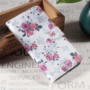 Callfree Leather Wallet Stand Cell Phone Case for Sony Xperia XA / XA Dual - Pretty Peonies