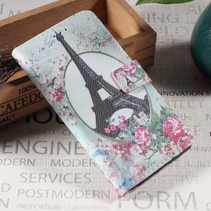 Callfree PU Leather Protection Wallet Case for Sony Xperia XA / XA Dual - Eiffel Tower and Flowers