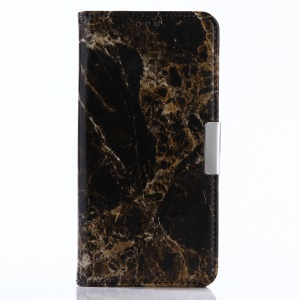 For Sony Xperia L1 Marble Pattern Leather Wallet Phone Case Stand - Black