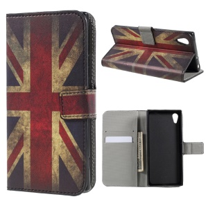 Pattern Printing Stand Leather Wallet Phone Casing for Sony Xperia XA1 - Retro Style Union Jack
