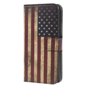 For Sony Xperia XA1 Pattern Printing Stand Leather Wallet Phone Cover - Vintage Style American Flag