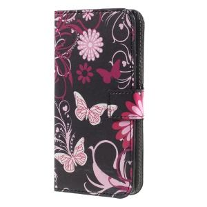 Printing Pattern Stand Leather Card Slot Mobile Shell for Sony Xperia XA1 - Butterflies and Flowers