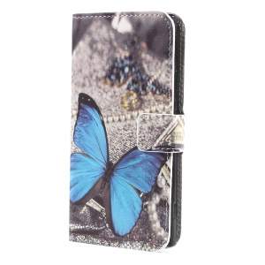 For Sony Xperia XA1 Patterned Stand Leather Wallet Case Cover - Blue Butterfly
