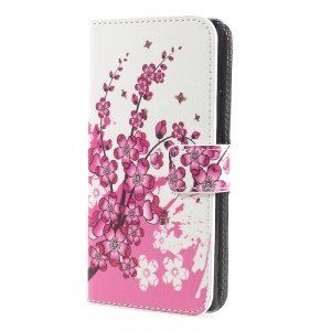 For Sony Xperia XA1 Pattern Printing Stand Leather Wallet Phone Cover - Peach Blossom