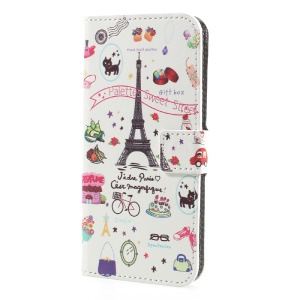 For Sony Xperia XA1 Patterned Stand Leather Wallet Case Shell - Eiffel Tower and Palettes Sweet Street
