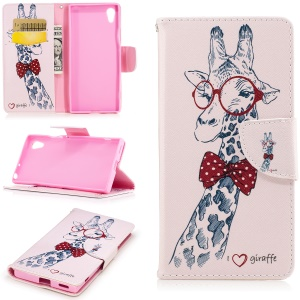 Patterned Leather Stand Mobile Casing for Sony Xperia XA1 - Giraffe Wearing Red Glasses