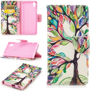 Patterned Leather Wallet Cellphone Case for Sony Xperia XA1 - Colored Tree