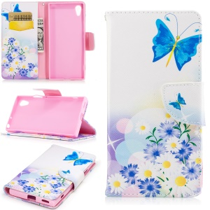 Patterned Leather Stand Cell Phone Cover for Sony Xperia XA1 - Butterfly and Daisy Flower