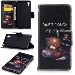 Patterned Leather Stand Phone Cover for Sony Xperia XA1 - Angry Bear and Warning Words