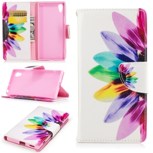 Patterned Leather Wallet Case Accessory for Sony Xperia XA1 - Colorful Sunflower