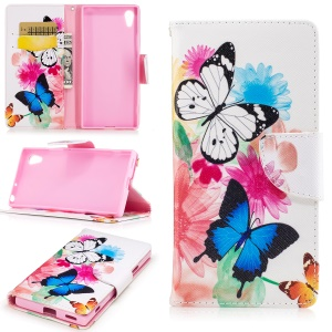 Printing Pattern Leather Wallet Mobile Case for Sony Xperia XA1 - Colorized Flowers and Butterflies