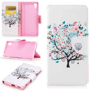 Pattern Printing Leather Wallet Phone Shell for Sony Xperia XA1 - Blooming Flower Tree