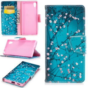 Patterned Leather Wallet Protective Cover for Sony Xperia XA1 - Pink Floret