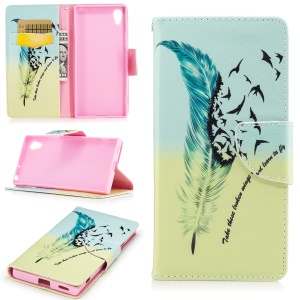 For Sony Xperia XA1 Patterned Leather Wallet Mobile Cover Case - Quill Pen and Quote