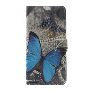 Pattern Printing Leather Card Slots Stand Folio Case for Sony Xperia XZ Premium -  Blue Butterfly