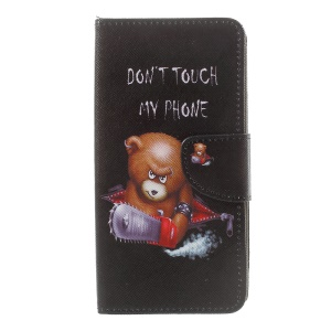 Patterned Leather Wallet Foldable Case for Sony Xperia XZ Premium - Angry Bear and Do not Touch My Phone