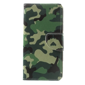 Pattern Printing Leather Wallet Stand Protective Case for Sony Xperia XZ Premium - Camouflage