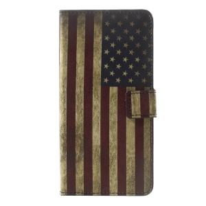 Patterned Leather Wallet Foldable Folio Shell for Sony Xperia XZ Premium - Retro Style American Flag