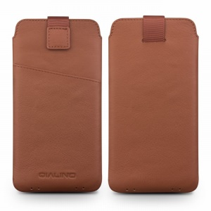 QIALINO Genuine Leather Universal Pouch Cover for Sony Xperia XZ, Size: 158 x 80mm - Brown